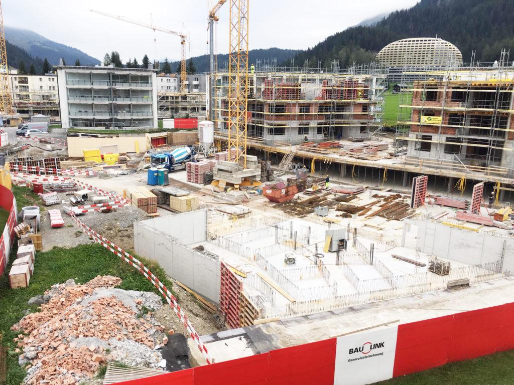 Baufortschritt Bünda Eck Davos September 2019